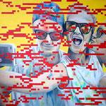 Selfie - Acrylique et mine graphite sur toile (80x60cm)