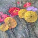 Flowers pixels - Acrylique sur toile marouflée sur bois (60x50cm)