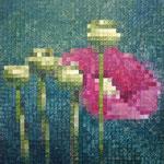 Flowers pixels - Acrylique sur toile marouflée sur bois (40x40cm)