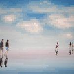 Miroirs - Acrylique et mine graphite sur toile marouflée sur bois (125x83cm)