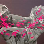 Portrait pixels - Acrylique et mine graphite sur toile (70x50cm)