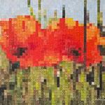 Flowers pixels - Acrylique sur toile (50x40cm)