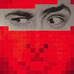 Portrait pixels - Acrylique et mine graphite sur toile marouflée sur bois (125x84cm)
