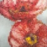 Pixels flowers - Acrylique sur toile (30x20cm)