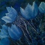 Flowers pixels - Acrylique sur toile (90x70cm)