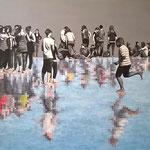 Miroirs - Acrylique et mine graphite sur toile marouflée sur bois (125x82cm)