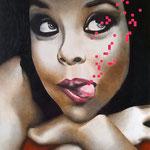 Portrait pixels - Acrylique et mine graphite sur toile marouflée sur bois (60x80cm)