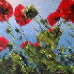 Pixels flowers - Acrylique sur toile marouflée sur bois (80x60cm)
