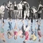 Miroirs - Acrylique et mine graphite sur toile marouflée sur bois (80x80cm)