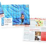 Mailing zum Thema Syrien: Der Informationsflyer hat Zeitungscharakter  mit Infografiken etc. und auf der Rückseite ein Kampagenmotiv welches als Poster verwendbar ist.