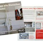 Mailing zum Thema deutsche Flüchtlingslager: Der Informationsflyer hat Zeitungscharakter  mit Infografiken etc. und auf der Rückseite ein Kampagenmotiv welches als Poster verwendbar ist.