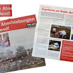 Mailing zum Thema Abschiebung von Roma: Der Informationsflyer hat Zeitungscharakter  mit Infografiken etc. und auf der Rückseite ein Kampagenmotiv welches als Poster verwendbar ist.