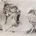 """""""Frightened by a little thought"""" Pencil on Paper 42x30 cm - 2014 © Peter K. Endres"""