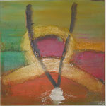 Weg-Gabelung, Acryl mit Spachtel, 120 cm x 120 cm