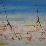 Kranichfüße, Acryl, 100 cm x 60 cm