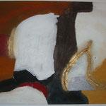 Goldlinie, Acryl mit Spachtel, 150 cm x 100 cm