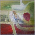Rote Flecken, Acryl mit Spachtel, 120 cm x 120 cm