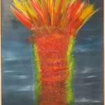 Vulkanausbruch, Acryl mit Spachtel, 150 cm x 100 cm  VERKAUFT