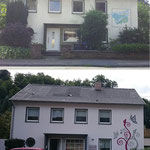 Fassadenarbeiten vorher und nachher mit Wandbild