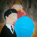 """Angst vor dem Knall"" (2013) 40x40 (Acryl / Aquarell / Leinwand)"