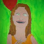"""""""Mädchen mit rotem Luftballon"""" 2013 (Acryl und Permanentmarker) (40x40)"""