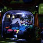 テントのポールを忘れて、松代PAで仕方なく久々の車中泊