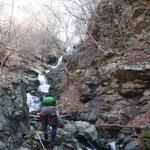 最後の滝がちょっとさわると落石がものすごくて、足にぶつかったりしましたが、多少の打撲ですみました。よくあることです