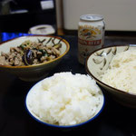 簡単に夕食を作りました!山でも食べる茄子とミョウガと大葉のポン酢かけです!そうめんも合うかどうか確認