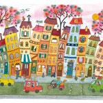 Les maisons en événtail. N° 185 format 40x50 env