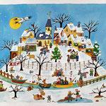 Le village sous la neige.(vendu)