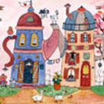 La rue des théières ( canvas= sur toile) 160