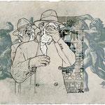 UNDER ARREST - acrylique, pigment, gesso et jet d'encre sur papier Fabriano - 33x38 cm