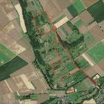 Das Naturschutzgebiet Magertriften; rot gekennzeichnet die Wanderstrecke