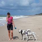 Blade vom Furlbach und Anny-Chamei vom Furlbach beim Strandgang im Urlaub...18.07.2017