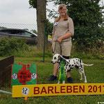 Galina vom Furlbach mit Ihrem kleinen Frauchen in Barleben beim Juniorhandling erreichten Platz 1...08.07.2017