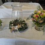 Motto Vintage Brautstauß mit Biedermeierrose, Kerzenglaskranz
