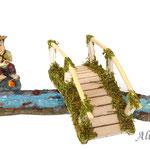 Muestra de combinación con figura de pescador de Reilaflor, puente y río (no incluidos)