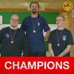 2015-12-05 | district championship (KM) at HBG barebow standings (middle-right-left): with David (BTV) 1st, Benjamin (BMTV) 2nd and Emanuele (SV Lurup) 3rd place