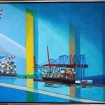 Containerhafen 100 x 80 cm, Öl auf Leinwand