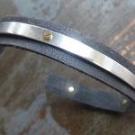 Bracelet réglable pour homme ou mixte cuir et argent vissé