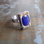 Bague réglable en argent 925 et lapis-lazuli en serti-vis