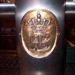 Edelstahlzapfsäule - Bronzeschild HB Brauerei