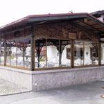 Pavillion Salett´l in Krün -  in Metall in Holzlook gefasst mit Ornamenten - PV 001 - Entwurf Architekturbüro Siedenburg Krün