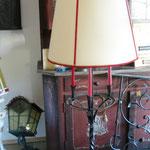 Stehleuchte Eisen gebürstet mit Kerzenhalter Stoffschirm mit Borte SL/Eisen 005