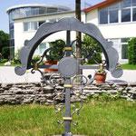 Grabkreuz schlicht in Anthrazit mit Gold - GK 002
