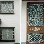 Fenster - Türgitter - in Alt  - Weiß Gold gefasst - FG 004