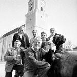 """Die """"Pockinger Buam"""" des Jahres 1995 (v.l.): Horst Huber, Dr. Jörg Mangold, Georg Müller, Berthold Jagode, Klaus Ragaller und Georg Spindler."""