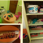 petite salle de jeux : vélo d'appartement, jeux de sociétés, jeu de pétanque, livre pour enfants...