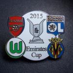 VFL Wolfsburg Emirates Cup 2015 Pin weiß Fehlfarbe fehlendes Rot bei Lyon