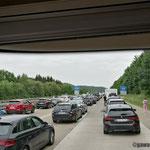 ein Unfall im Tunnel Gruibingen beschert uns eine unfreiwillige Pause von 90 Minuten